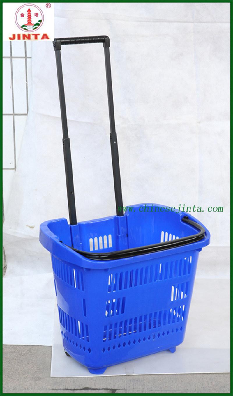 Wheeled Plastic Supermarket Shopping Basket (JT-G06)