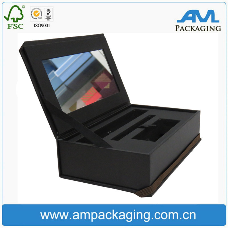 Custom Cosmetic Cardboard Box Clamshell Shaped False Eyelash Packaging with Mirror