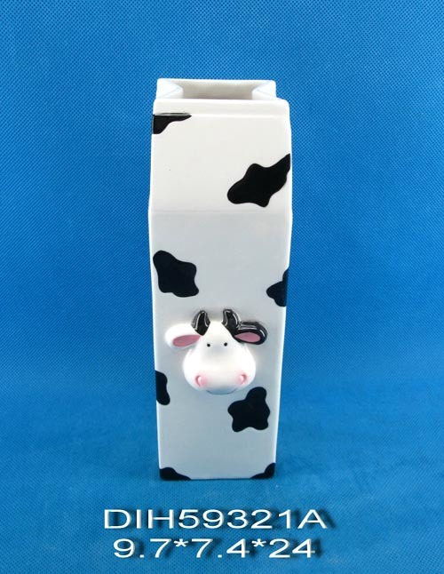 Hand-Painted Ceramic Cow Flower Vase
