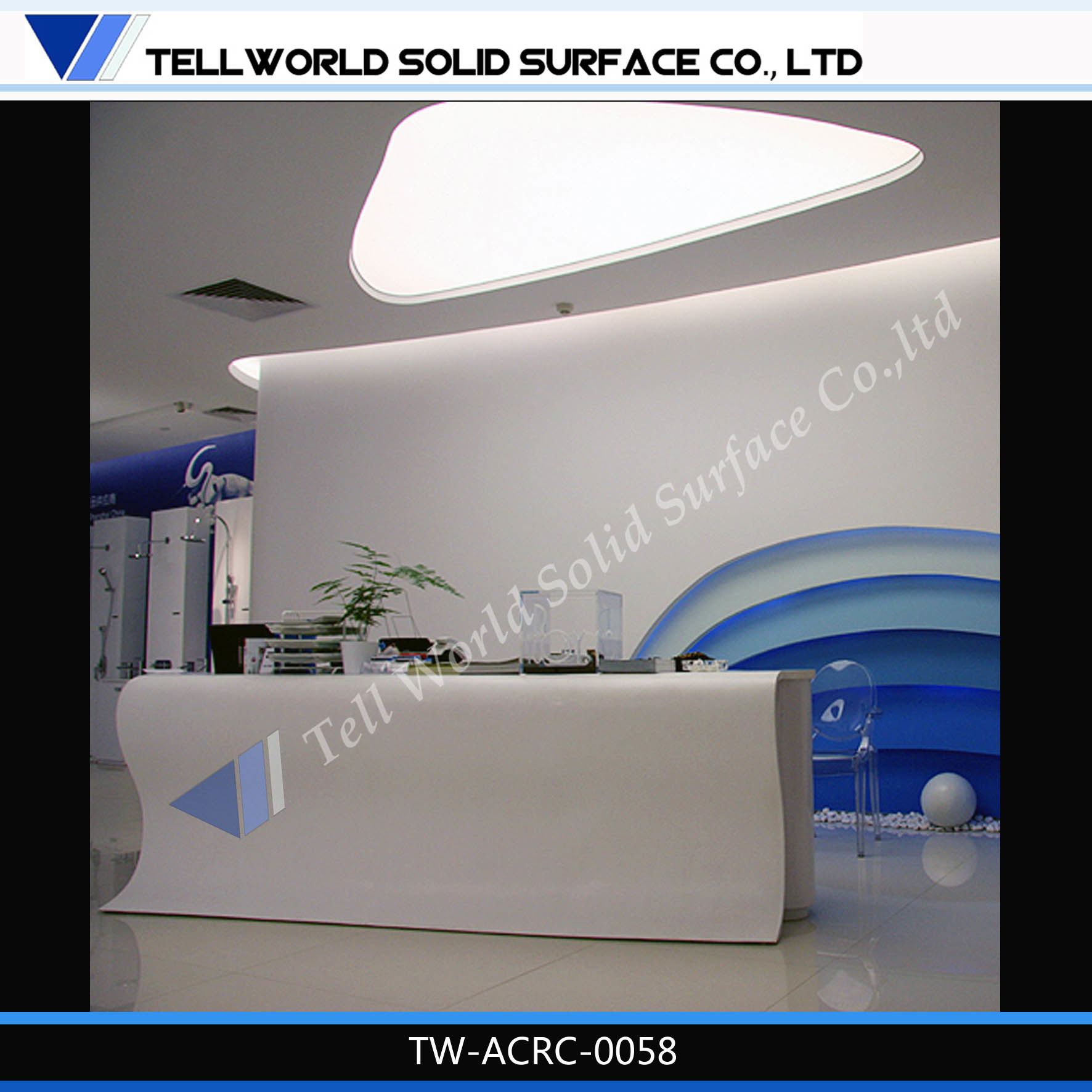 Tw solid surface furniture white office reception counter front desk