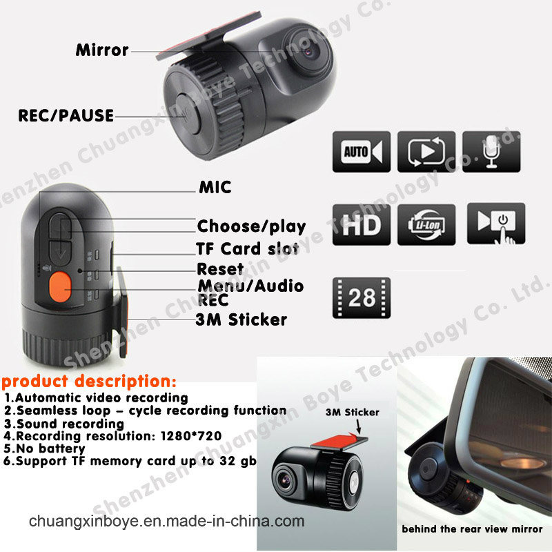 HD Mini Car Black Box DVR/Dashboard Camera/Car Recorder Camera for Car DVD