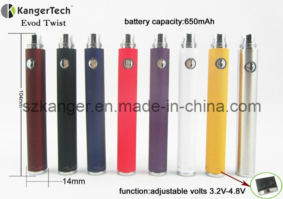 E Cigarette Adjustable Volt Battery, Evod Twist EGO Thread Battery
