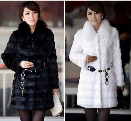 2014 Fashion Women Faux Fur Coat