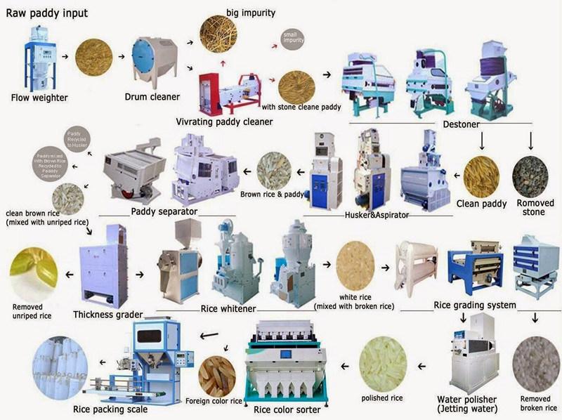 Auto Rice Milling Plant Rice Grader, Color Sorter, Whitener, Paddy Separator