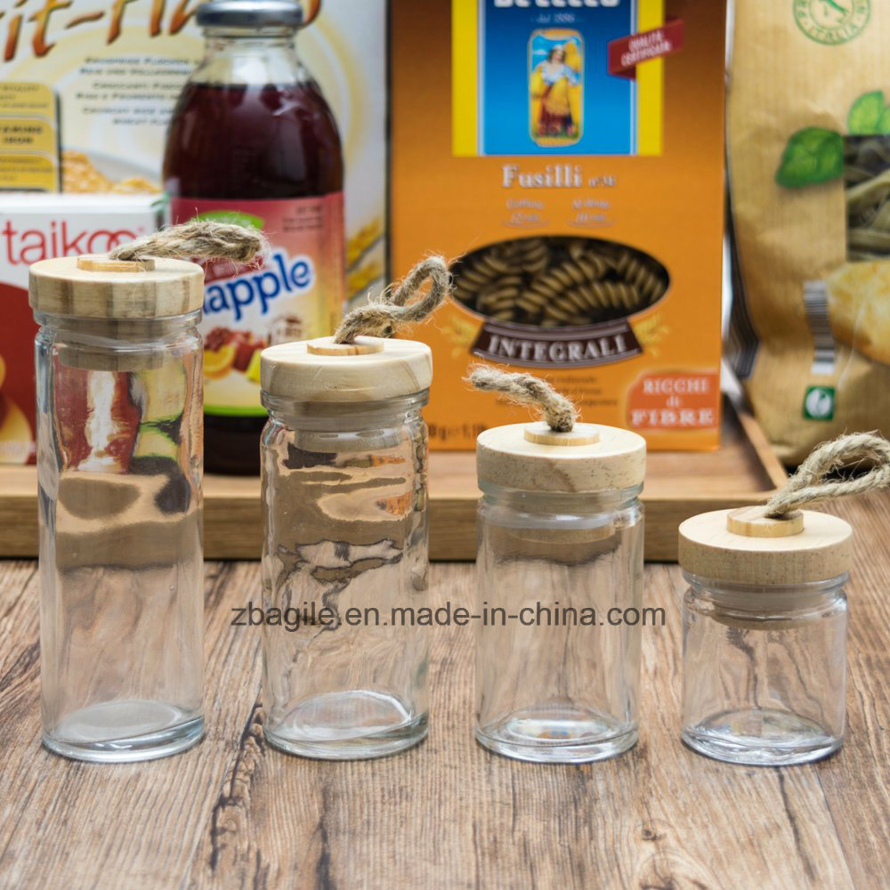 Factory Price Hot Sale Nature Wood Lid Glass Spice Storage Jar Glassware (100019)