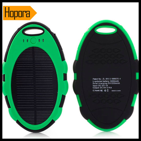 Waterproof 5000mAh Solar Panel Mobile Cell Phone Charger Power Bank