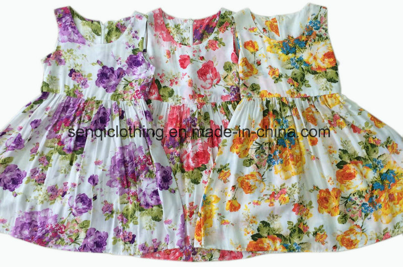 Flower Children Girl Dress in Kids Clothes (SQD-113)