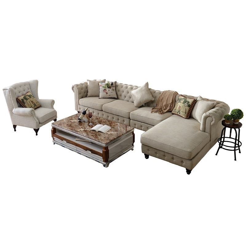 Living Room Leisure Chaise Lounge Fabric Sofa (F722)