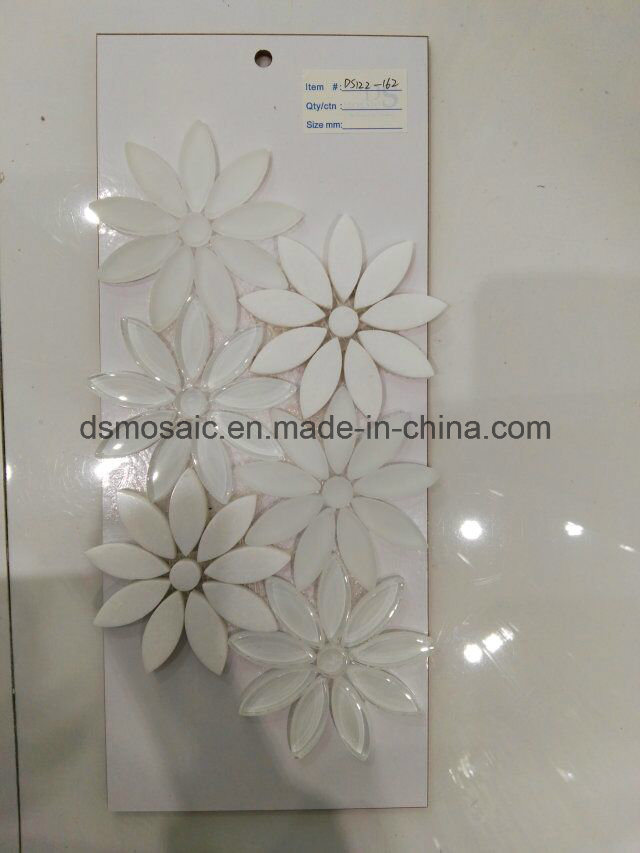 High Quality Flower Shape Glass and Marble Mixed Mosaic