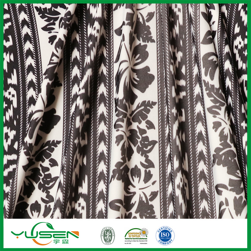 Black&White Leaves Printed Spandex Swimwear Fabric for Women