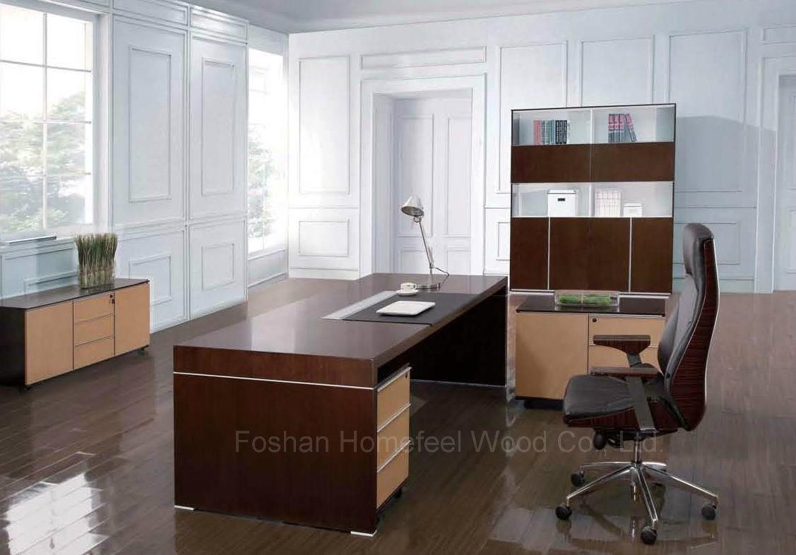 Modern Black Oak Wooden Executive Boss Table Office Furniture (HF-SID001)