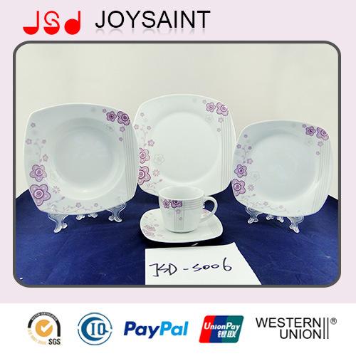 OEM Quality Square Shape 18PCS Dinner Set Dinner Cup with Porcelain Ceramic