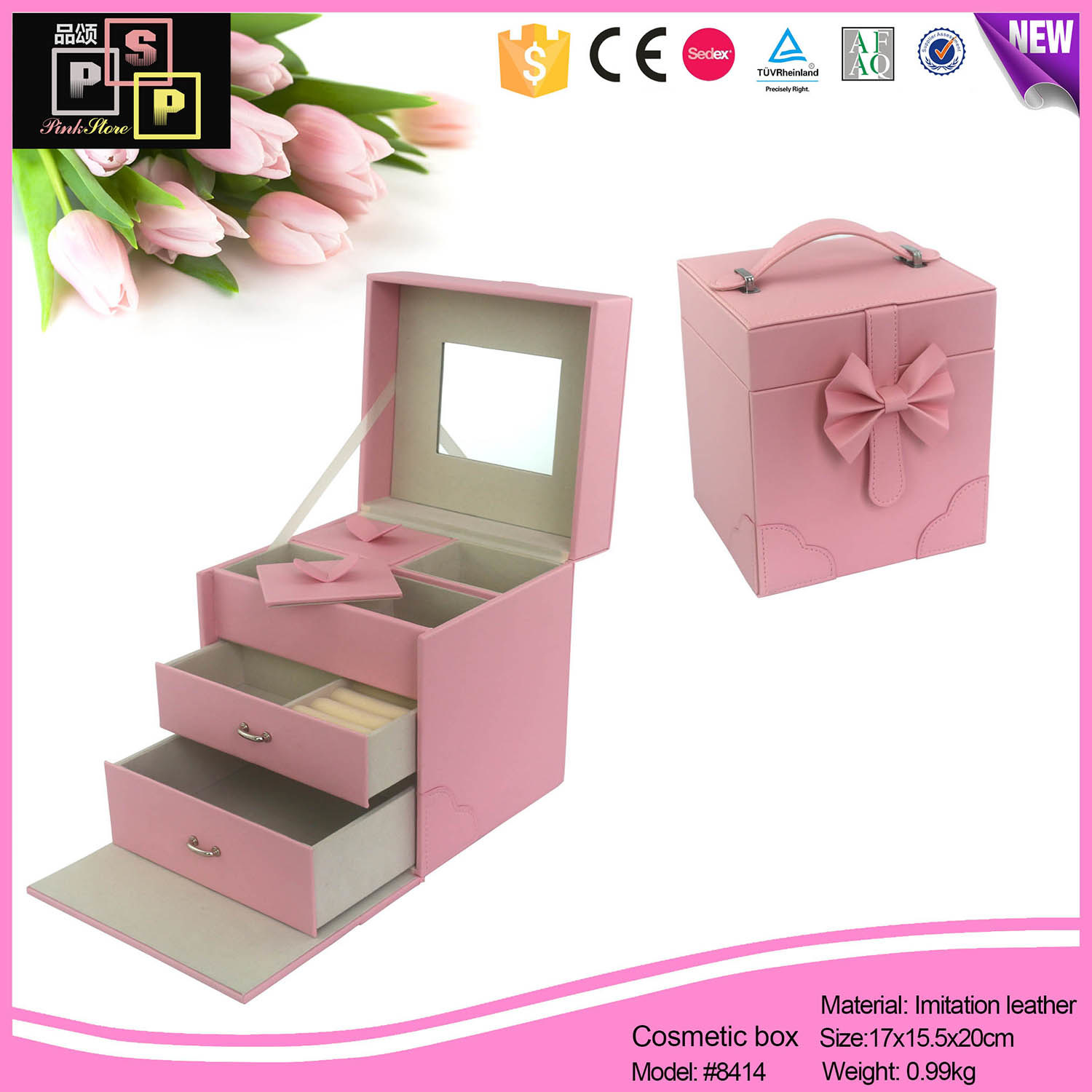China Factory Vogue High Quality Custom Leather jewellery Box Packaging Drawer (8414)