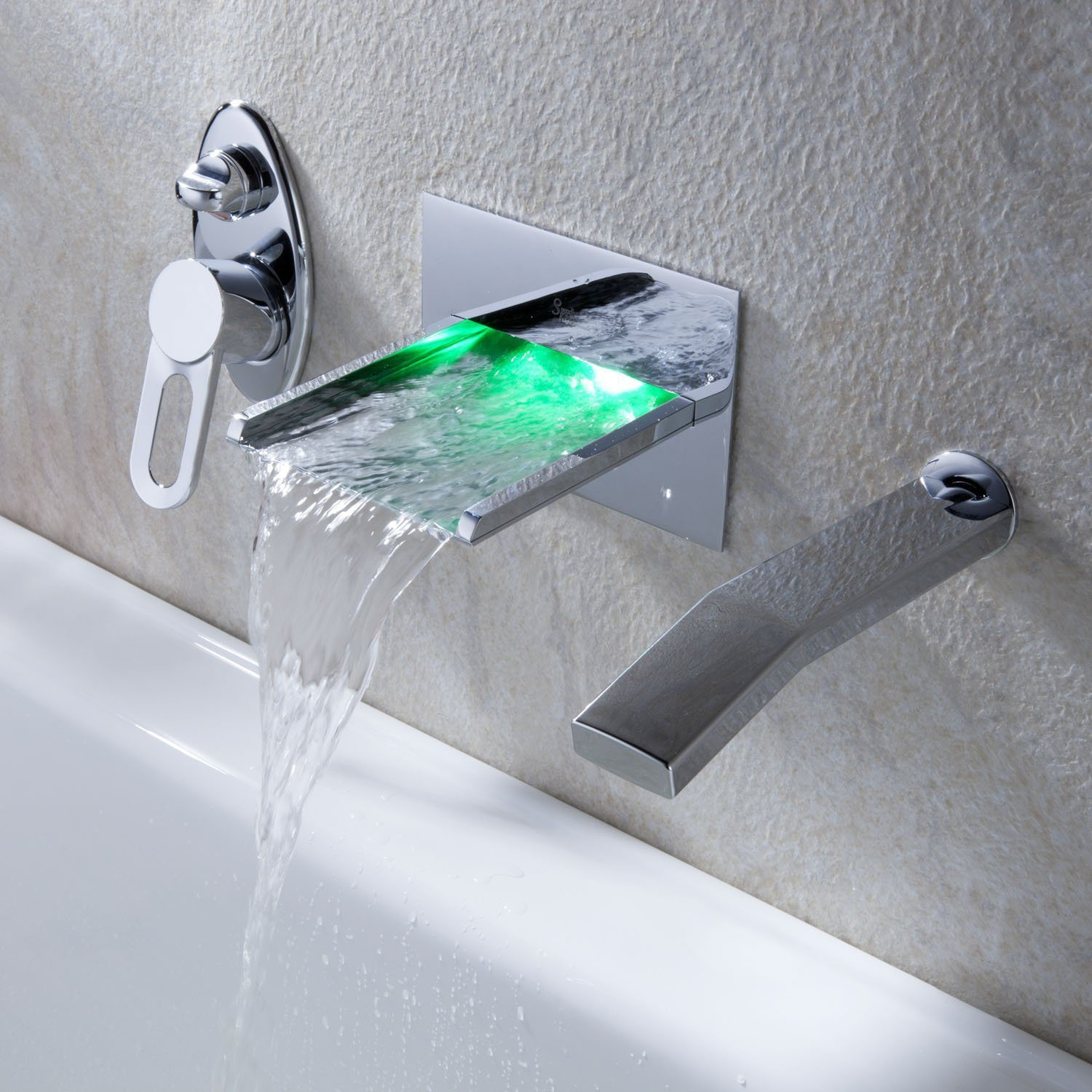 Brass Wall Mounted Single Handle Bath Shower Tap with LED Lights