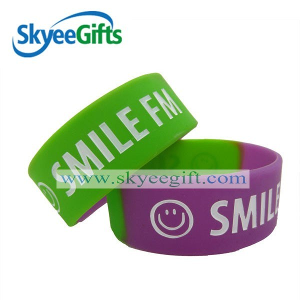 1 Inch Sengment Silicone Wristband Ink Filled White