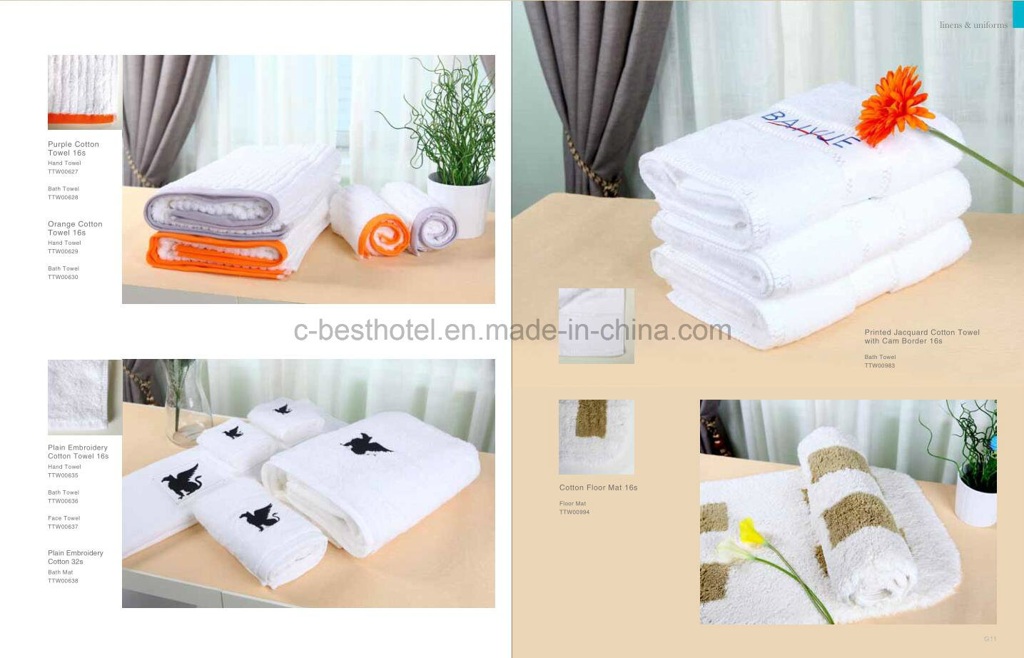 100% Cotton White Hotel Towel Sets
