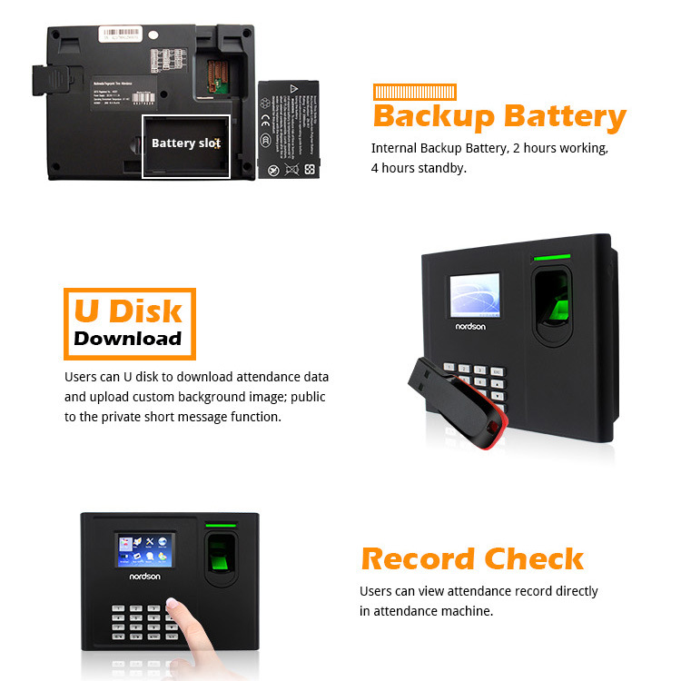 Multi Language Fingerprint Access Control Time Attendance System Machine Built-in Backup Battery