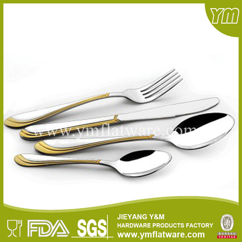 Fashionable Design Stainless Steel Gold Plating Cutlery