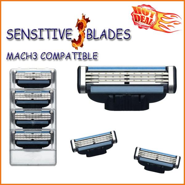 Compatible with Gillette Mach3 Power Shaving Razor Blade (4PCS/lot)