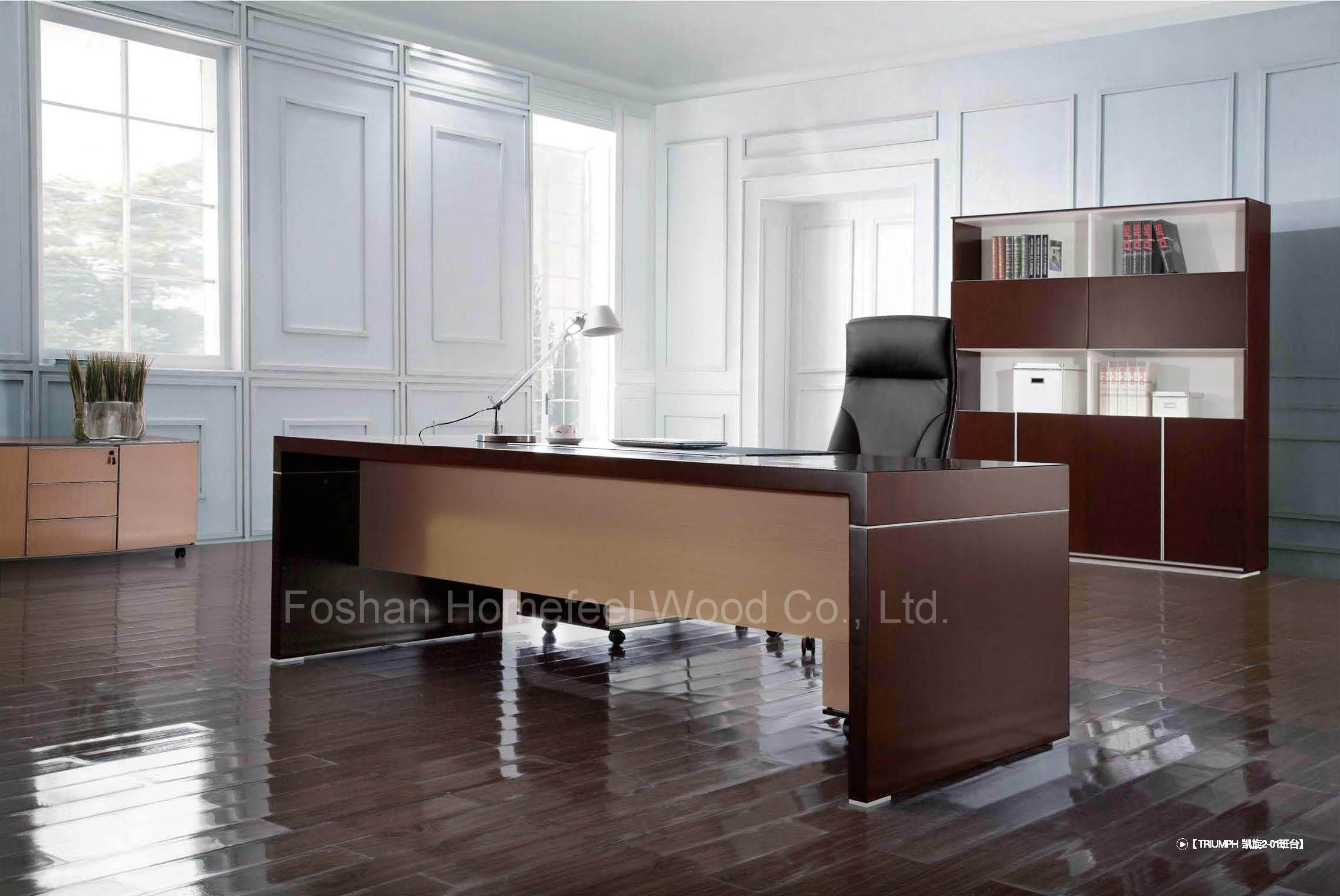 Modern Black Oak Wooden Executive Boss Table Office Furniture (HF-SID001)