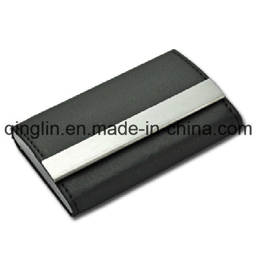 Superior Quality Fashion Leather and Stainless Steel Name Card Case (QL-MPH-0008)