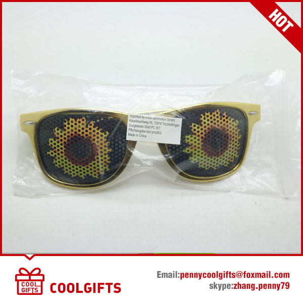 FDA&Ce Free Golden Sunglasses with Sunflower Sticker for Promotional Gifts