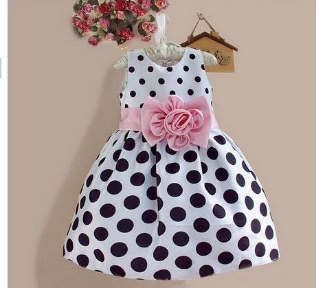 Fashion Sweet Polka DOT Kids Flower Girls Dress Children Wear