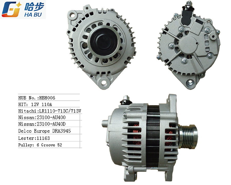 100% New Alternator for Nissan Lr1110-713c, 23100-Au400