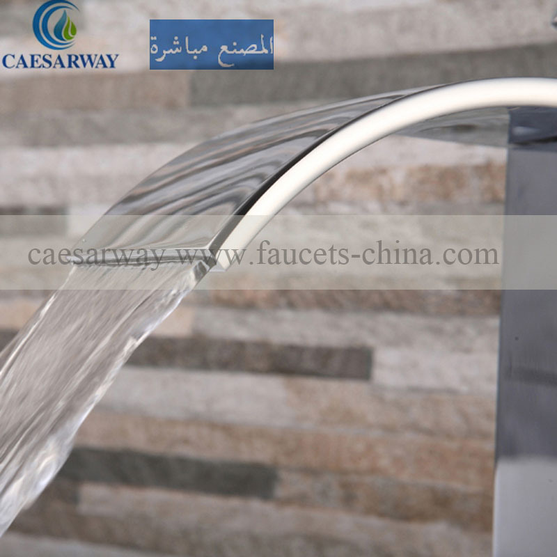 Square High Basin Waterfall Faucet Mixer for Bathroom