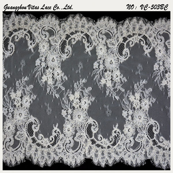 Ivory Rayon French Lace Trim for Wedding Dress From Guangzhou Factory Vc-503bc