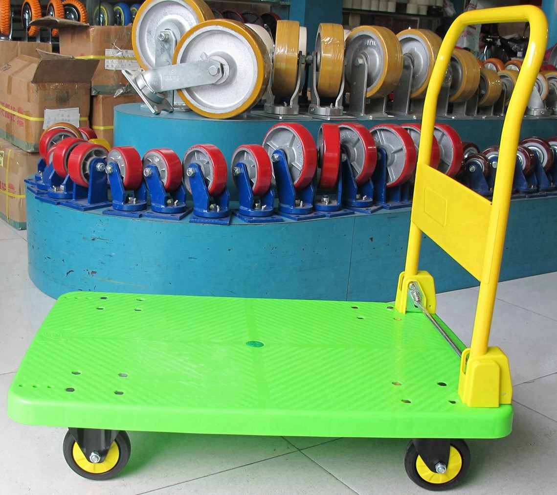 300 Kg Green Color Platform Handcart Noiseless Plastic Trolley