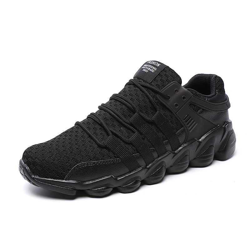 Fast Selling Men′s Big Size 46 Sports Shoes PU Breathable Non-Slip Soft Bottom Knitting Men′s Running Shoes