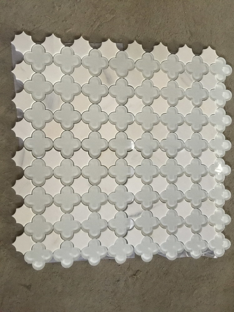 Thassos White Marble Mixed Glass Water Jet Mosaic for Wall Tile