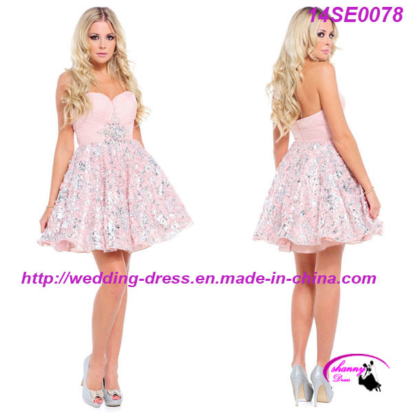 Printed Pink Short Prom Dress with Sweetheart Neckline