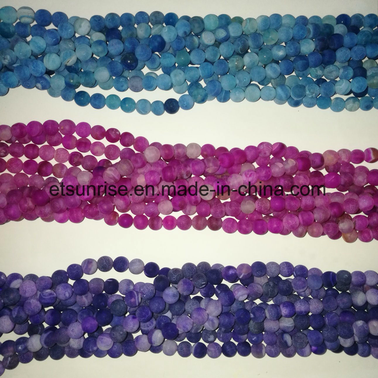 Semi Precious Stone Natural Crystal Matte Frosted Finished Cracked Agate Onyx Bead