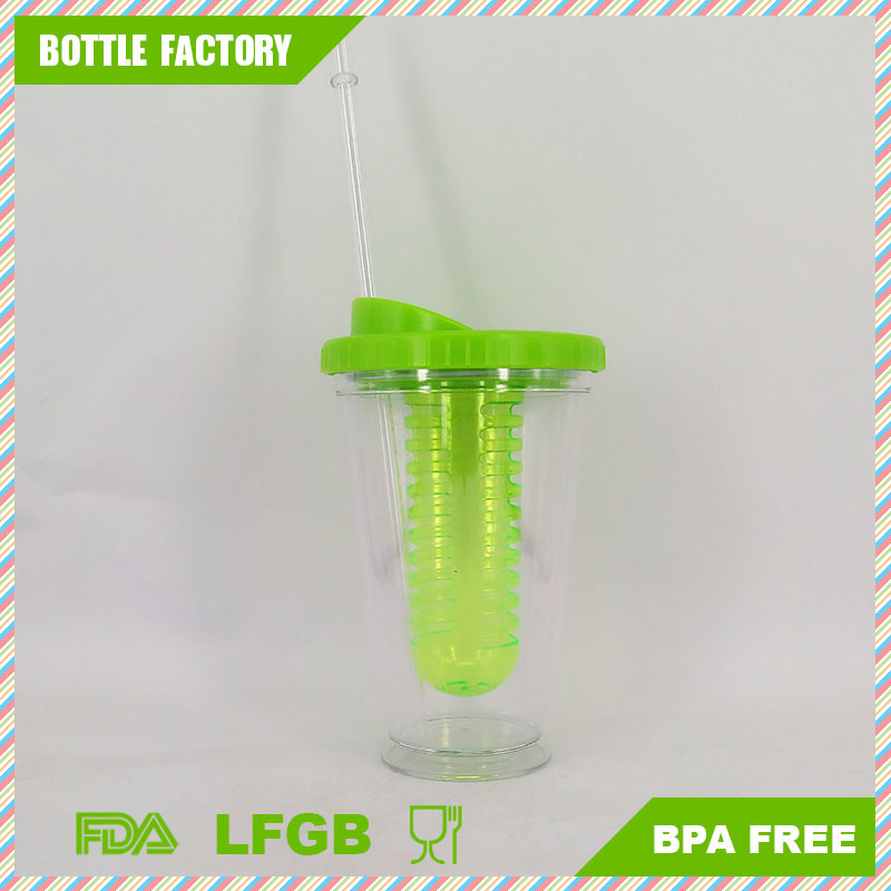 Plastic Fruit Infuser Tumbler with Straw 16oz