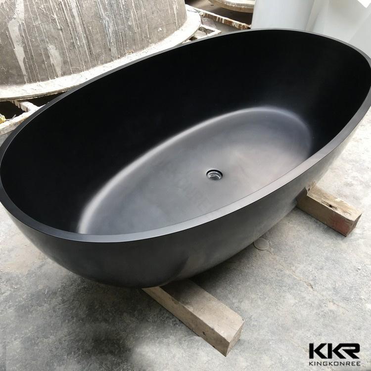 Kkr Simple Modern Black Solid Surface Freestanding Bathtub (BT1705123)