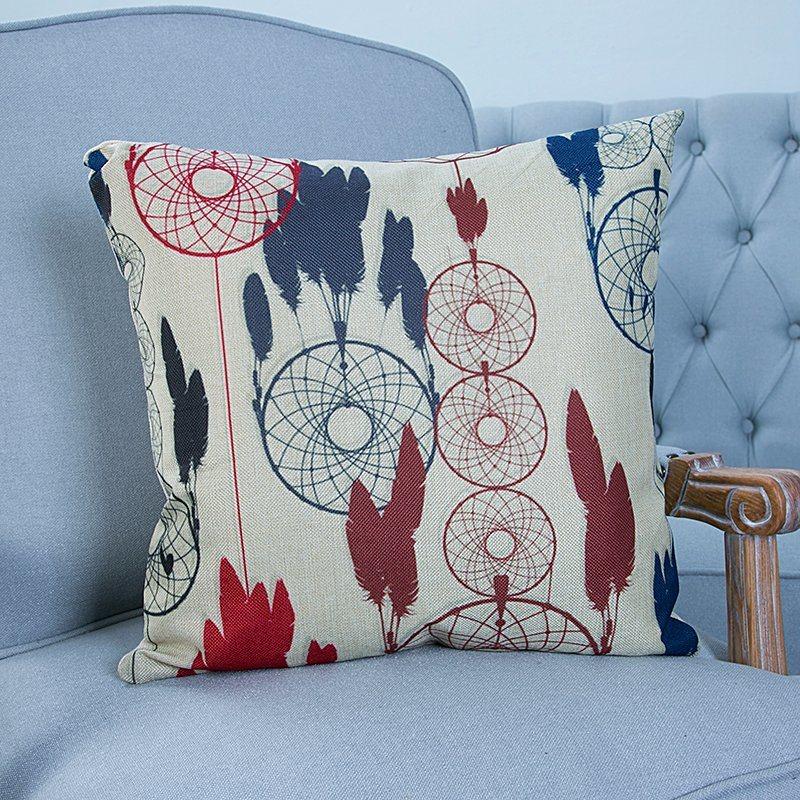Digital Print Decorative Cushion/Pillow with Ikat Geometric Pattern (MX-14)