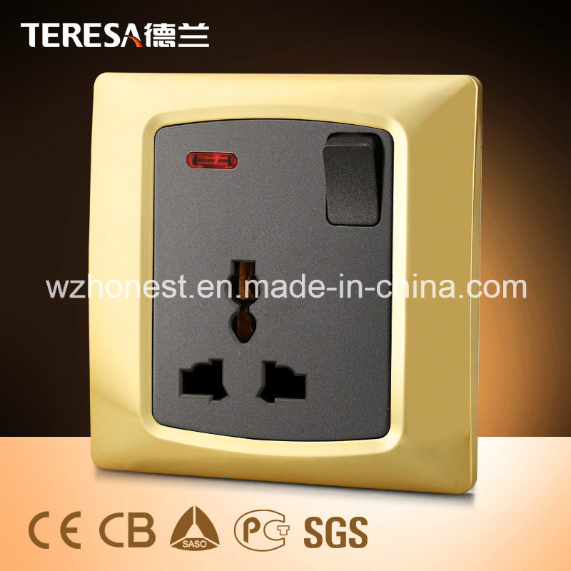 1 Gang 13A Socket Wall Switch Socket with LED Indicator Light