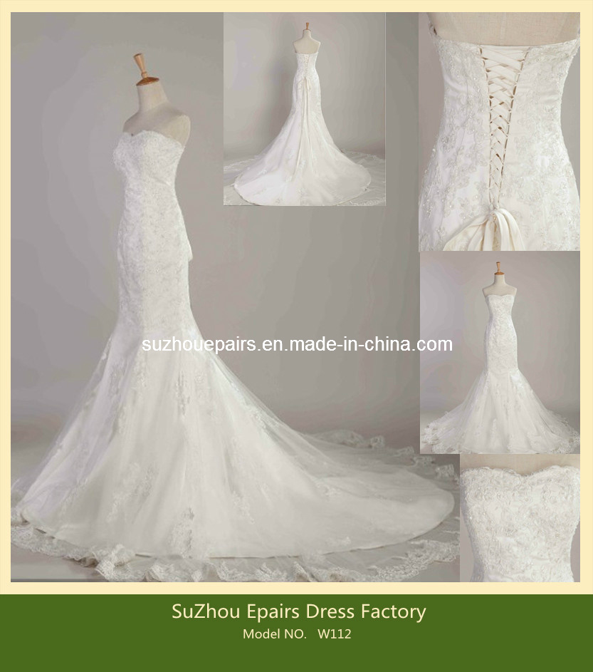 China mermaid wedding dress lace appliqued beaded bridal for Beaded lace mermaid wedding dress