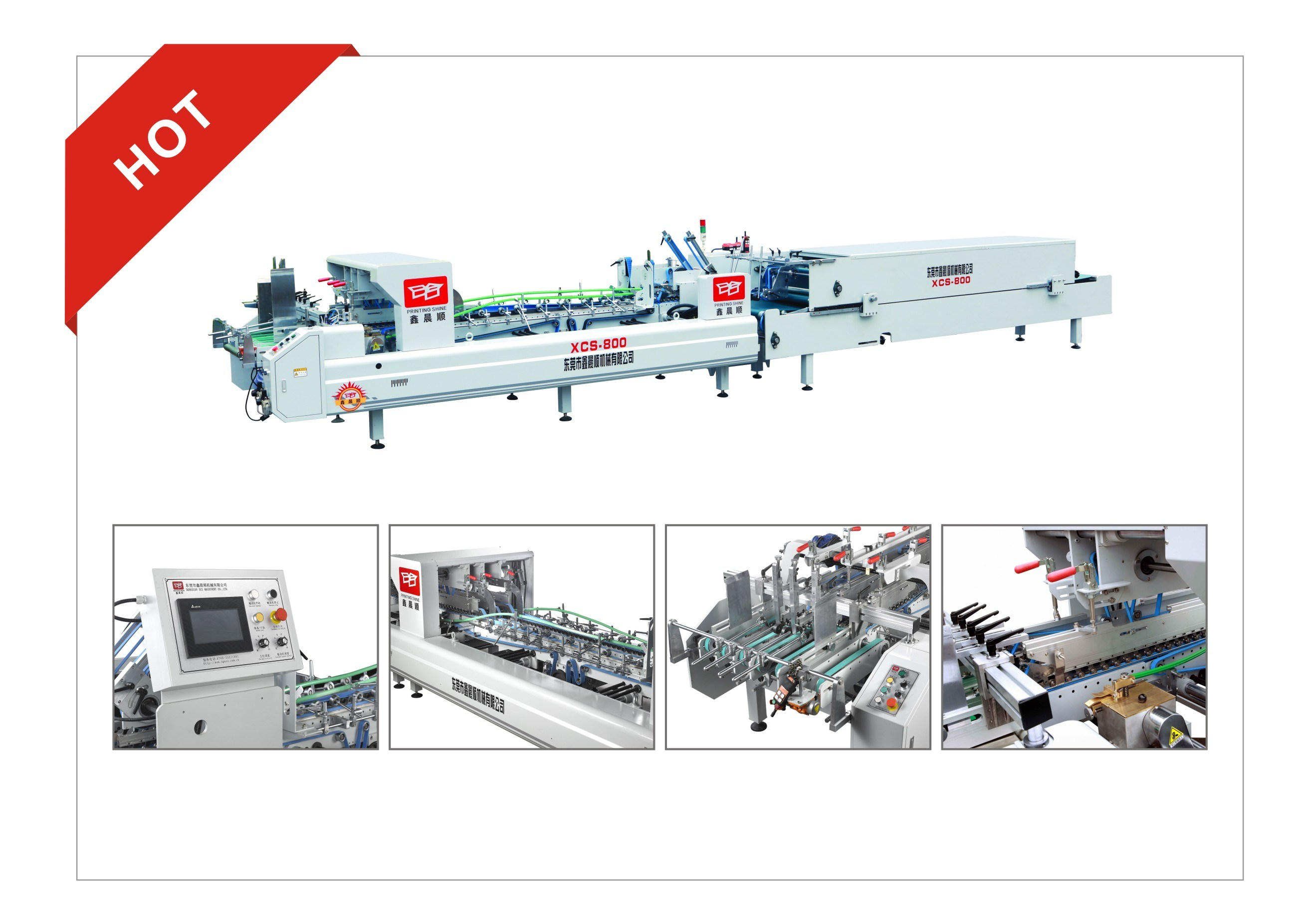 Xcs-800 Automatic Efficiency Carton Box Making Gluing Machine