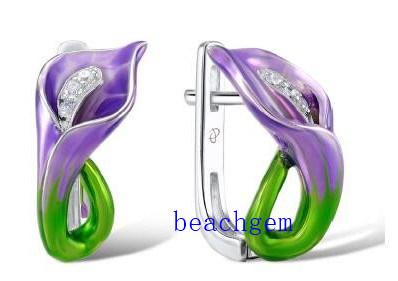 Epoxy Resin Flower Sterling Silver Earrings (E305354)