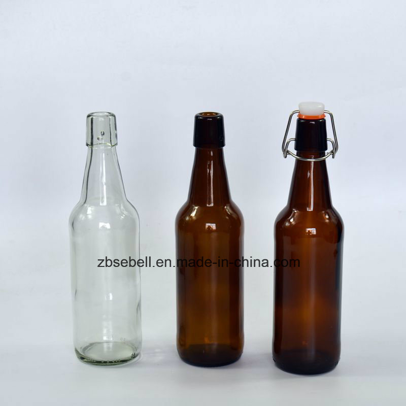Hot Sale Glass Beer Bottle with Flip Cap