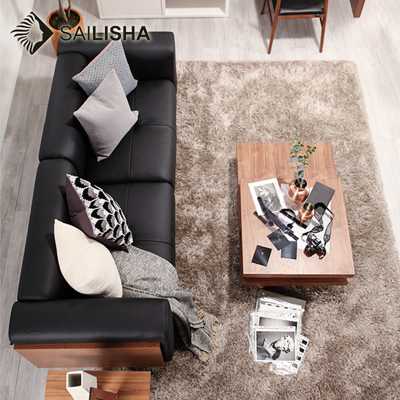 Nordic Korean Simple Design Leather Fabric Home Office Corner Sofa
