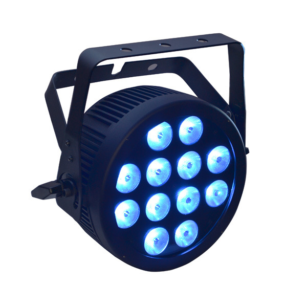 12X12W RGBWA UV 6 in 1 Disco LED PAR Can with Die Cast Aluminum Slim Housing and Powercon