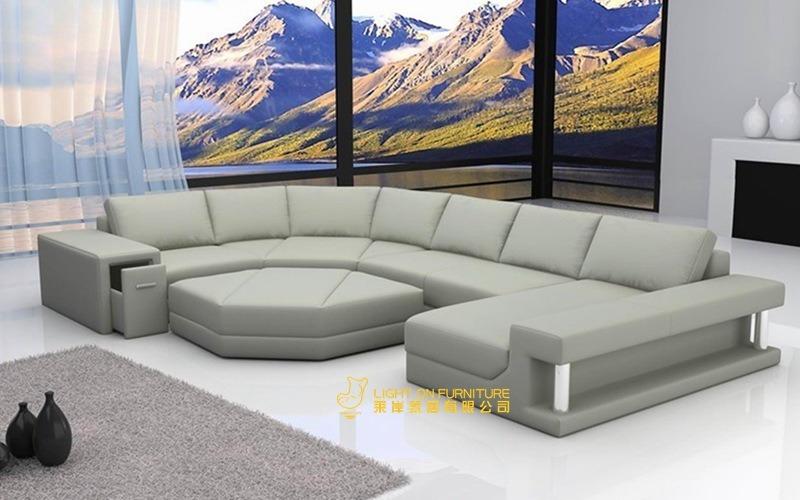 U Shape Relax Leather Sofas (L056)
