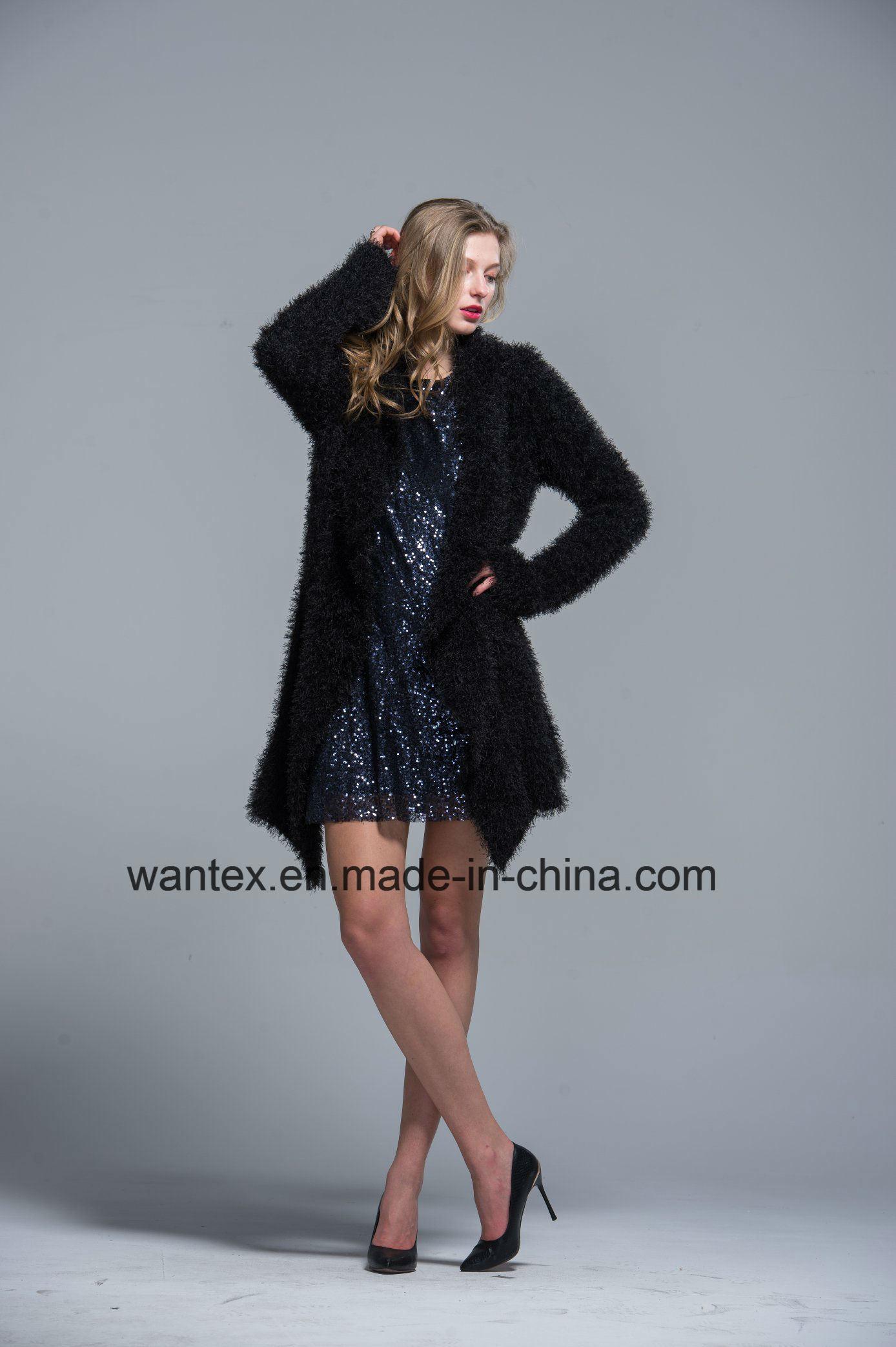 Ladies Coat Dress Fashion Autumn Winter Polyester Black Warm Sexy Pagoda Sleeve