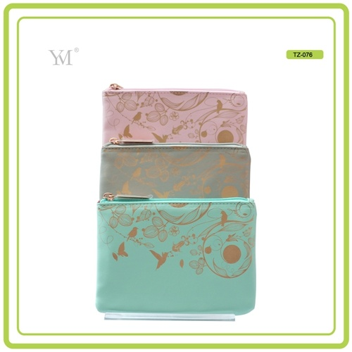 Flat Leather Cosmetic Make up Toiletry Organizer Clutch Bag