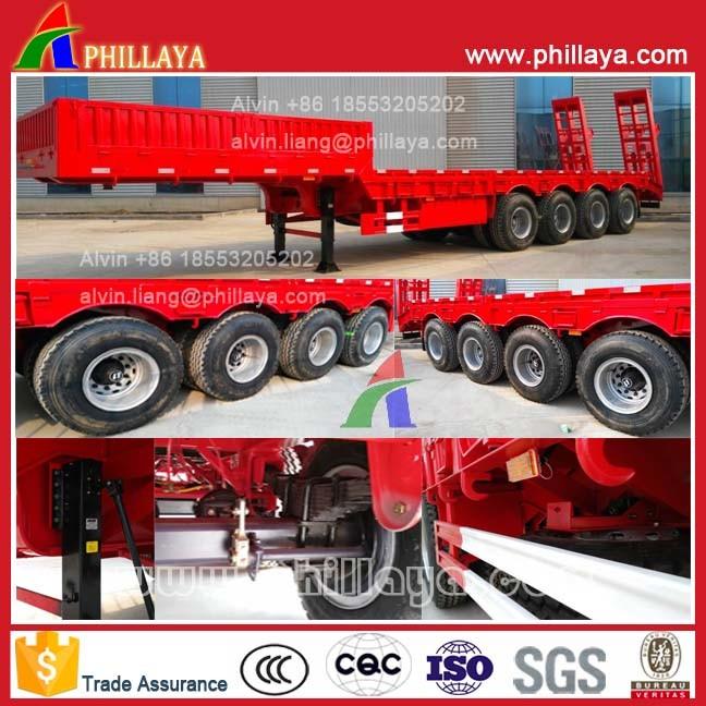4 Axles 60ton Heavy Duty Low Bed Semi Truck Trailer