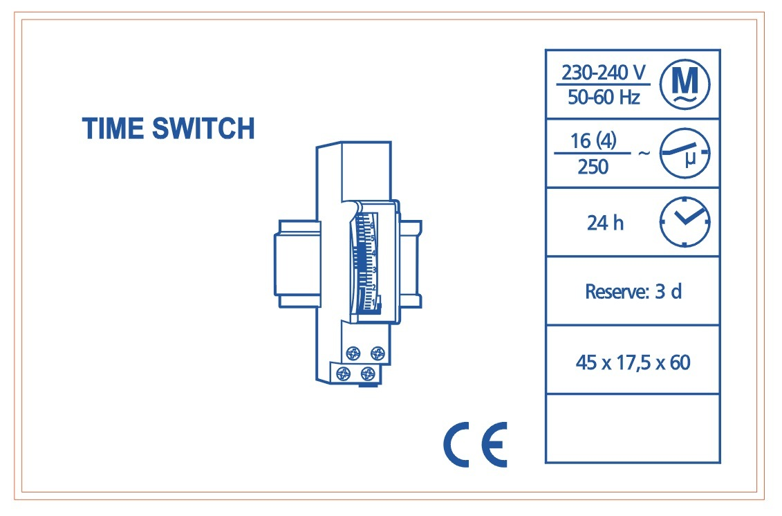 DIN Rail 24 Hour Mechanical Programmable Time Switch (SUL180A)